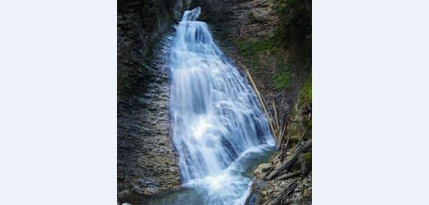 Margaret Falls near Salmon Arm, B.C., is one of the 100 waterfalls featured in a new hiking book by outdoor adventurer Steve Tersmette. (Steve Tersmette - image credit)
