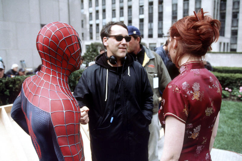 Sam Raimi on the set of the original 'Spider-Man' in 2002 (Photo: Columbia Pictures/courtesy Everett Collection)