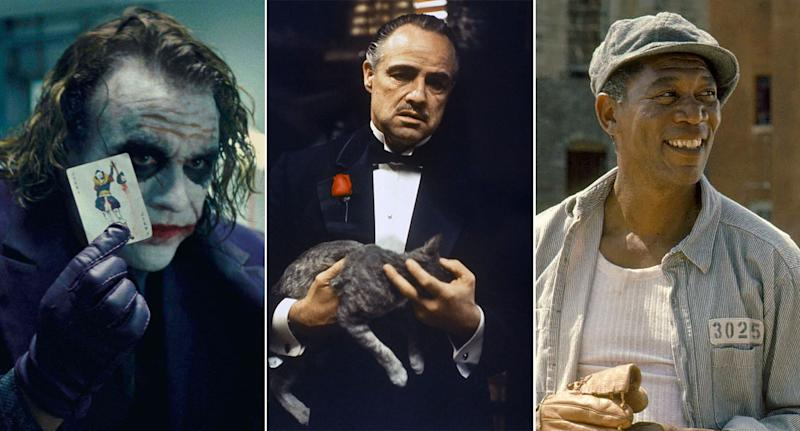 The Dark Knight, The Godfather, The Shawshank Redemption all ranked highly. (WB/Paramount/Columbia)