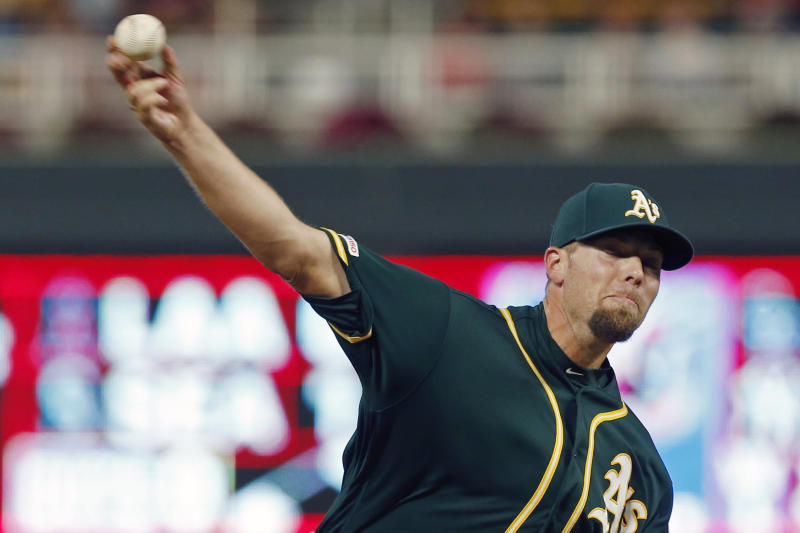 Oakland Athletics pitcher Blake Treinen throws against the Minnesota Twins in the eighth inning of a baseball game Saturday, July 20, 2019, in Minneapolis. (AP Photo/Jim Mone)