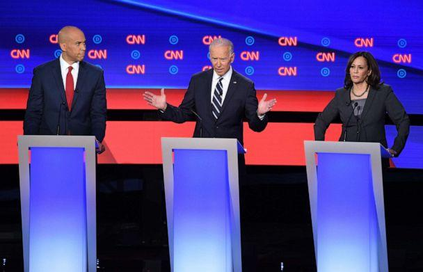 PHOTO: Democratic presidential hopefuls US Senator from New Jersey Cory Booker (L), former Vice President Joe Biden (C) and US Senator from California Kamala Harris (R) speak during the second round of the second Democratic primary debate. (Jim Watson/AFP/Getty Images)