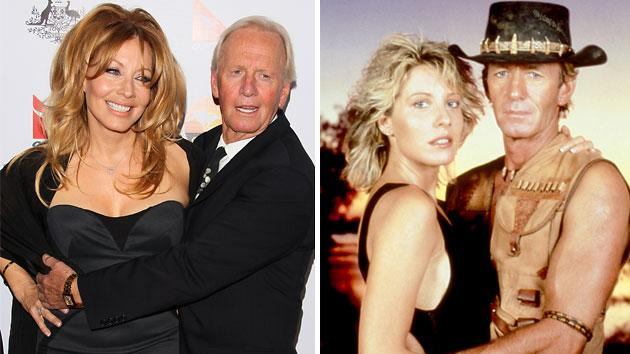 Linda Kozlowski and Paul Hogan today (left) and the on-screen/off-screen couple in 1986