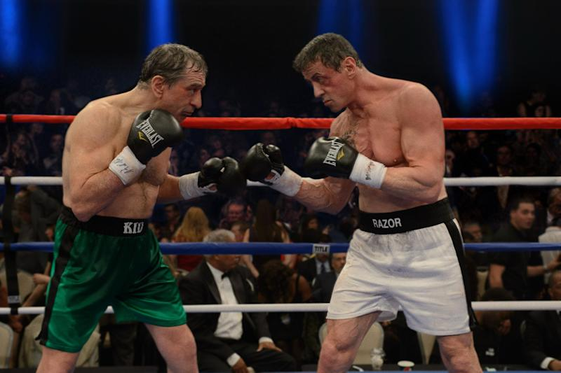 "This image released by Warner Bros. Pictures shows Robert De Niro as Billy 'The Kid' McDonnen, left, and Sylvester Stallone as Henry ""Razor"" Sharp, in a scene from ""Grudge Match."" One was once the Raging Bull himself. The other is, of course, Rocky. Boxing has made for a lot of great story lines on the big screen, but the latest one matching 60-something actors Robert De Niro and Sylvester Stallone may be the biggest stretch ever. (AP Photo/Warner Bros. Pictures, Ben Rothstein)"