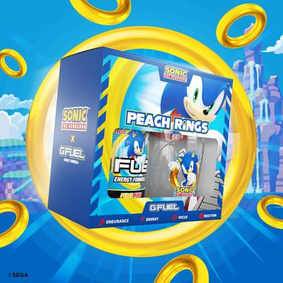 G FUEL Sonic's Peach Rings energy drink will also be for sale to customers in the U.S. and Canada in powdered form in 40-serving tubs and limited-edition collectors boxes, which include one 40-serving tub and one 16 oz shaker cup, at gfuel.com on August 19, 2020.