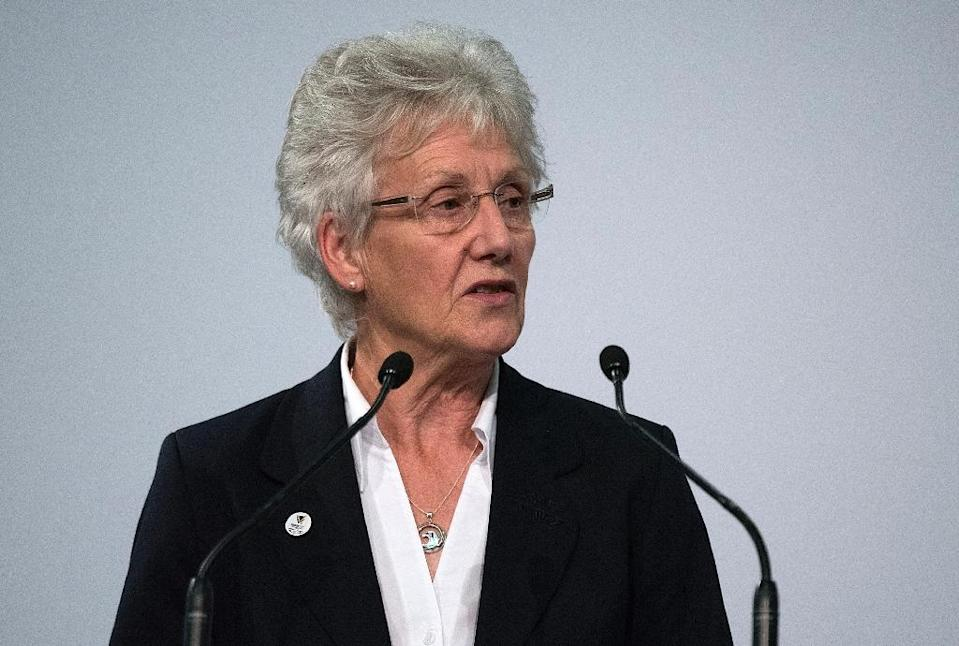 """President of the Commonwealth Games Federation, Louise Martin, pictured in 2015, says """"the CGF will continue to have an open dialogue"""" with South Africa """"and remains committed to realising the shared ambitions of a future"""" Games in Africa (AFP Photo/Marty Melville)"""