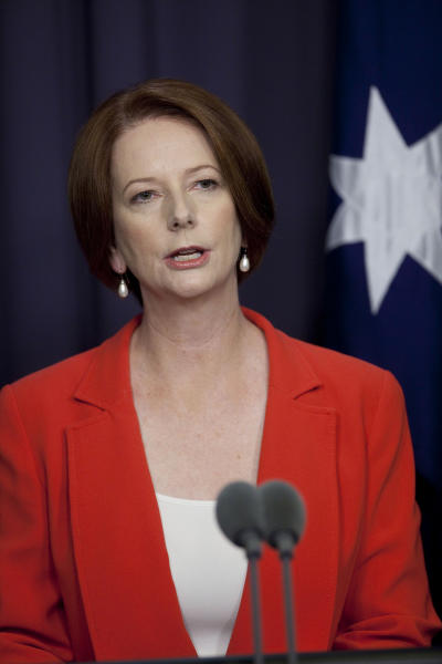 Australian Prime Minister Julia Gillard speaks at a media conference after winning a leadership challenge in Canberra, Australia, Monday, Feb. 27, 2012. Gillard easily won an internal party vote Monday against the colleague she deposed two years ago, Kevin Rudd, and declared that she had put down the internal strife that has undermined her unpopular government for months. (AP Photo/Andrew Taylor)