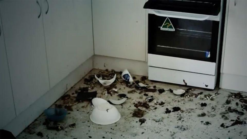 Every room in the property was covered in rubbish. Source: 7 News