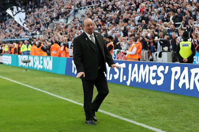"Soccer Football - Premier League - Newcastle United vs Chelsea - St James' Park, Newcastle, Britain - May 13, 2018 Newcastle United manager Rafael Benitez acknowledges fans after the match REUTERS/Scott Heppell EDITORIAL USE ONLY. No use with unauthorized audio, video, data, fixture lists, club/league logos or ""live"" services. Online in-match use limited to 75 images, no video emulation. No use in betting, games or single club/league/player publications. Please contact your account representative for further details."