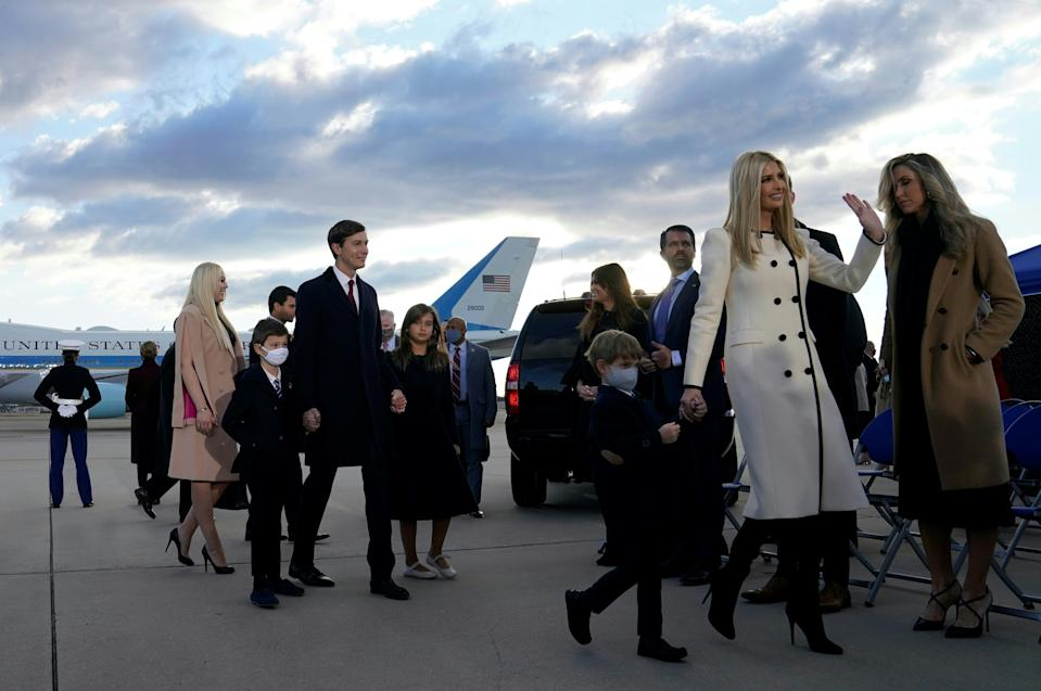 Ivanka Trump, husband Jared Kushner, thier children and Trump family members waves at Joint Base Andrews in Maryland as they arrive for US President Donald Trump's departure on January 20, 2021. - President Trump travels to his Mar-a-Lago golf club residence in Palm Beach, Florida, and will not attend the inauguration for President-elect Joe Biden. (Photo by ALEX EDELMAN / AFP) (Photo by ALEX EDELMAN/AFP via Getty Images)
