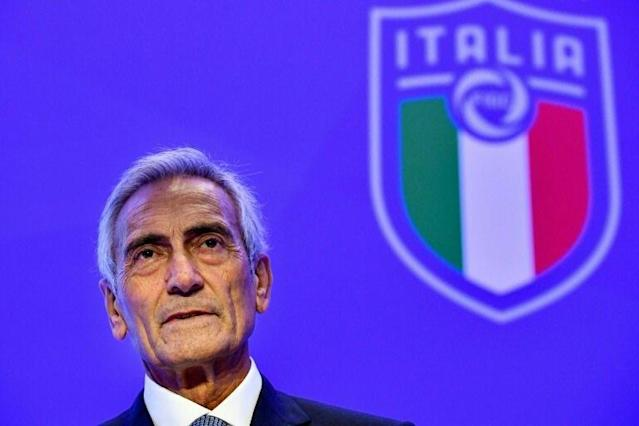 Italian Football Federation (FIGC) president Gabriele Gravina hopes for a return to Serie A on May 2 (AFP Photo/Alberto PIZZOLI)