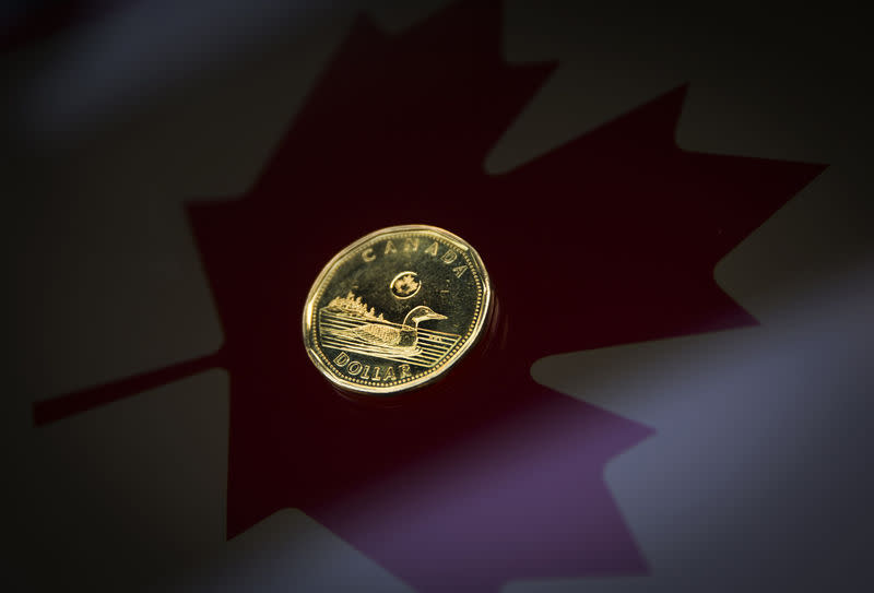 "FILE PHOTO - A Canadian dollar coin, commonly known as the ""Loonie"", is pictured in this illustration picture taken in Toronto"