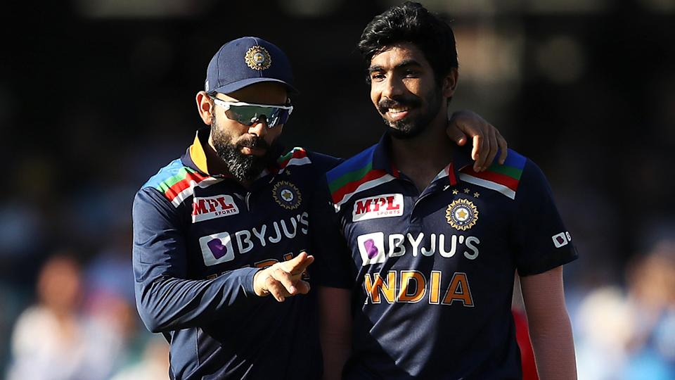 India's Virat Kohli and Jasprit Bumrah are searching for answers ahead of the third ODI match against Australia in Canberra on Wednesday. (Photo by Mark Kolbe/Getty Images)