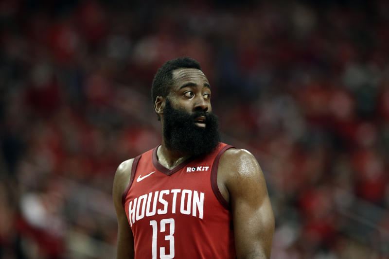 Houston Rockets' James Harden (13) walks on the court during the first half of Game 6 of a second-round NBA basketball playoff series against the Golden State Warriors on Friday, May 10, 2019, in Houston. (AP Photo/Eric Gay)