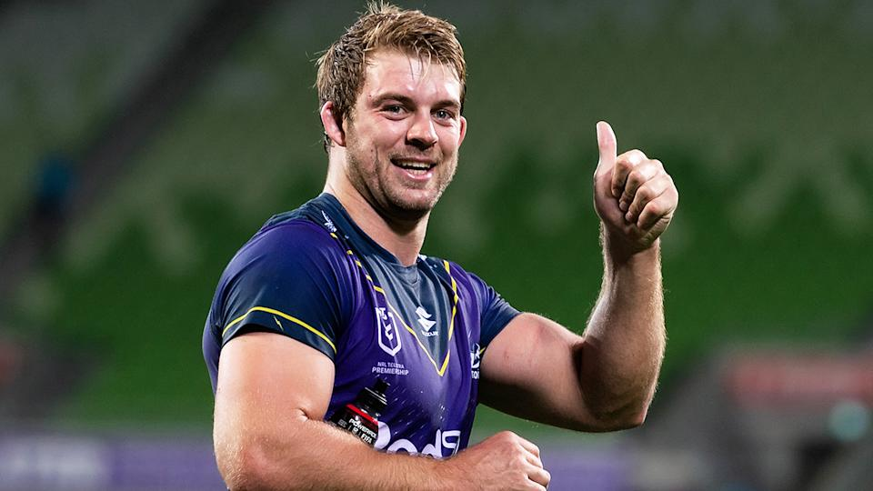 Queensland and Storm forward Christian Welch (pictured) gives the thumbs up to fans.