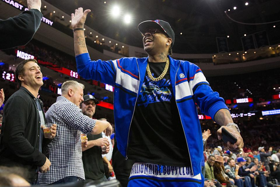 Feb 8, 2019; Philadelphia, PA, USA; Former Philadelphia 76ers and hall of fame member Allen Iverson reacts with fans during the fourth quarter against the Denver Nuggets at Wells Fargo Center. Mandatory Credit: Bill Streicher-USA TODAY Sports