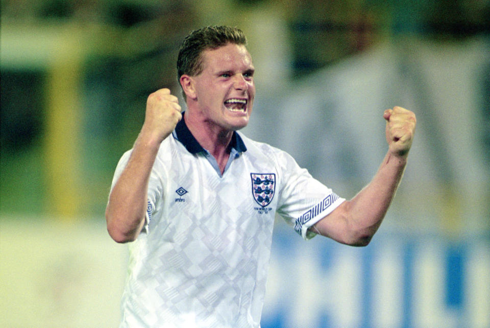 Paul Gascoigne made 57 appearances for England during his professional football career. (David Cannon/Allsport/Getty Images)