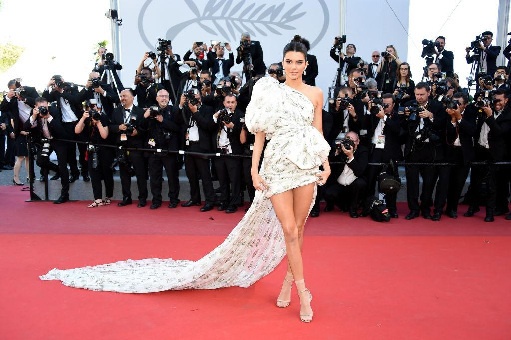 "<p>Kendall Jenner wore a one-shoulder design by Giambattista Valli at the ""120 Beats Per Minute (120 Battements Par Minute)"" screening in Cannes. (Photo by Stephane Cardinale – Corbis/Corbis via Getty Images) </p>"