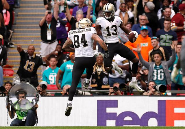 <p>New Orleans' Michael Thomas celebrates scoring a touchdown with Michael Hoomanawanui. Action Images via Reuters/Paul Childs </p>