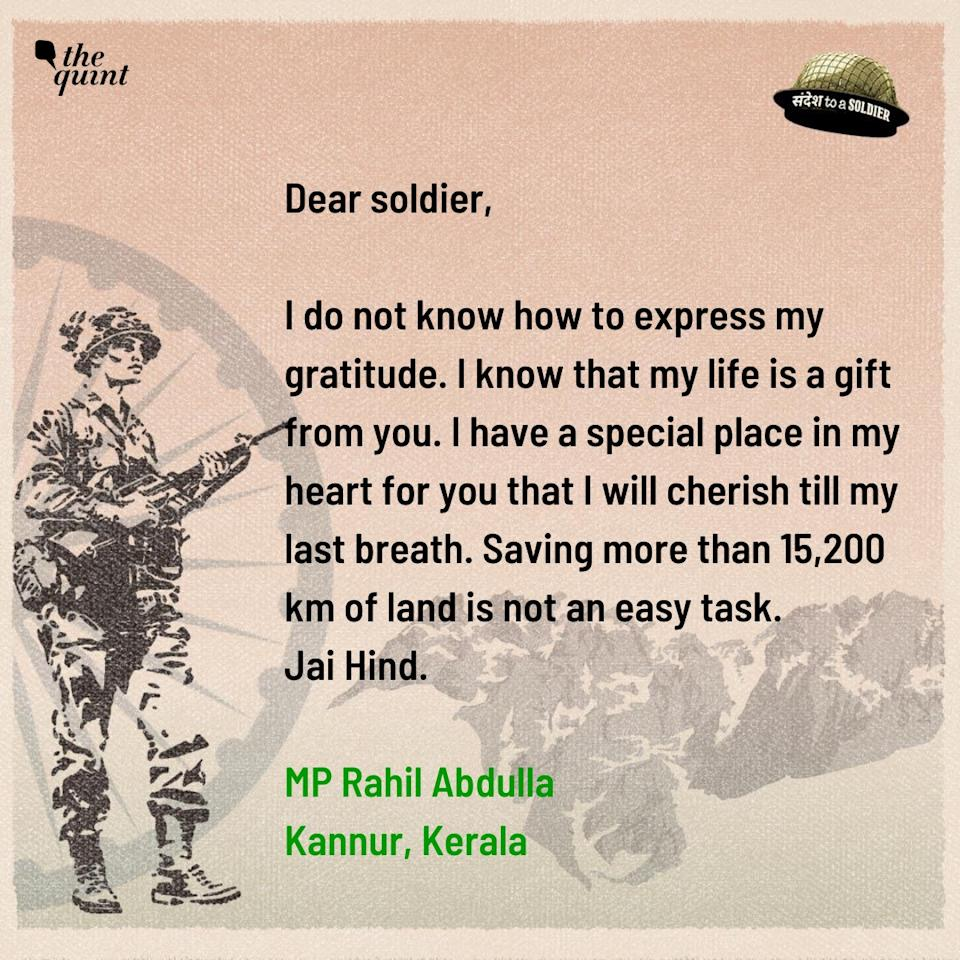 MP Rahil Abdullah from Kerala sends his sandesh to a soldier.