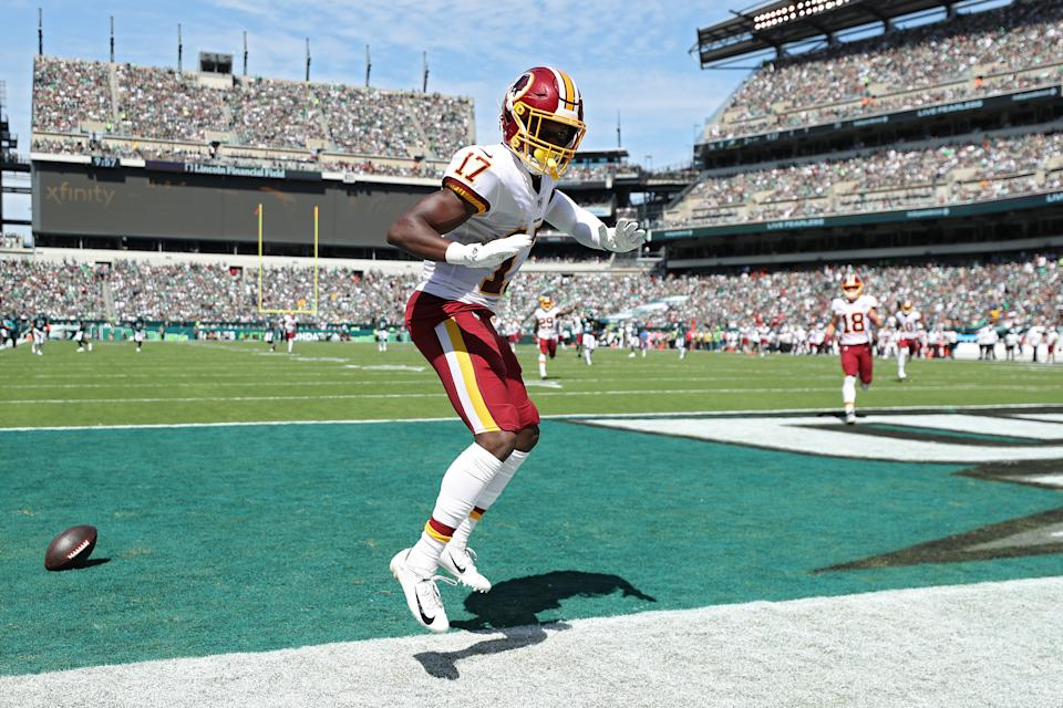 Wide receiver Terry McLaurin #17 of the Washington Redskins celebrates his touchdown reception against the Philadelphia Eagles during the second quarter at Lincoln Financial Field on September 8, 2019 in Philadelphia, Pennsylvania. (Photo by Patrick Smith/Getty Images)