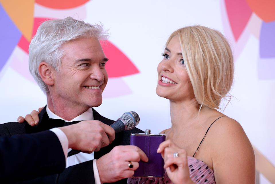 LONDON, ENGLAND - JANUARY 22: Holly Willoughby and Phillip Schofield pose with the Daytime Award in the winners room during the National Television Awards held at The O2 Arena on January 22, 2019 in London, England. (Photo by Joe Maher/WireImage)
