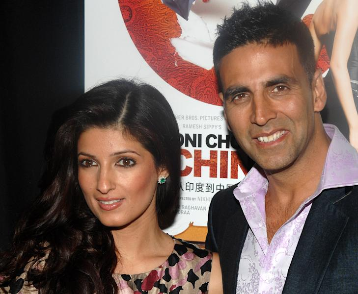 """FILE - In this Jan. 8, 2009 file photo, Bollywood stars, Akshay Kumar and his wife Twinkle Khanna attend the premiere of """"Chandni Chowk To China"""" in New York. Kumar and Khanna have become parents of a baby girl. On Tuesday, Sept. 25, 2012, the actor tweeted that his new daughter """"looks just like her mother and grandmother & I have no words to express my happiness."""" (AP Photo/Peter Kramer, File)"""
