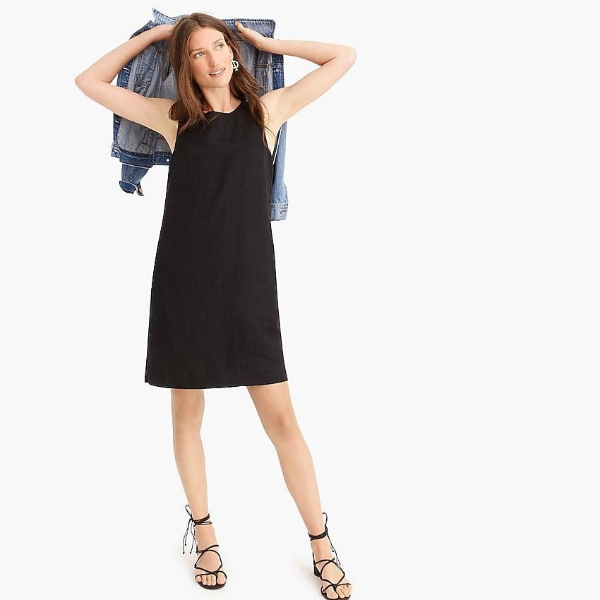 "<p>You'll always want to throw this <a href=""https://www.popsugar.com/buy?url=https%3A%2F%2Fwww.jcrew.com%2Fus%2Fp%2Fwomens_category%2Fdressesandjumpsuits%2Fbuttonback-shift-dress-in-beauchamps-linen%2FJ2466%3Fcolor_name%3Dblack%26noPopUp%3Dtrue%26srccode%3DPaid_Search%257CShopping%257CGoogle%257CPL_ACQ_WPROD_DRESSESxxxxxx_EVG_ROAS_XXX_COUSA_EN_EN_A_CREW_GO_SE_PLA_xxxxxxxxxx%2CWomens_Dresses_x_XXX%2CPRODUCT_GROUP%2C71700000032274623%2C58700003835347392%2Cp38767536637%26utm_source%3DGoogle%26utm_medium%3DPaid_Search%26utm_campaign%3DPL_ACQ_WPROD_DRESSESxxxxxx_EVG_ROAS_XXX_COUSA_EN_EN_A_CREW_GO_SE_PLA_xxxxxxxxxx%2CWomens_Dresses_x_XXX%26utm_content%3DShopping%26NoPopUp%3DTrue%26gclsrc%3Daw.ds%26%26gclid%3DEAIaIQobChMI5Kr9vsfD6gIVxRd9Ch0JVQTYEAQYBCABEgJH2_D_BwE%26gclsrc%3Daw.ds&p_name=J.Crew%20Button-back%20Shift%20Dress&retailer=jcrew.com&price=49&evar1=fab%3Aus&evar9=46355415&evar98=https%3A%2F%2Fwww.popsugar.com%2Ffashion%2Fphoto-gallery%2F46355415%2Fimage%2F47609365%2FJCrew-Button-back-Shift-Dress&list1=shopping%2Cdresses%2Csummer%2Cproducts%20under%20%24100%2Csummer%20fashion&prop13=api&pdata=1"" class=""link rapid-noclick-resp"" rel=""nofollow noopener"" target=""_blank"" data-ylk=""slk:J.Crew Button-back Shift Dress"">J.Crew Button-back Shift Dress</a> ($49, originally $98) on.</p>"