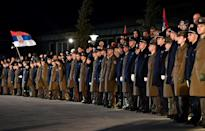 Serbian police officers and soldiers were part of the arrival ceremony for Russian President Vladimir Putin
