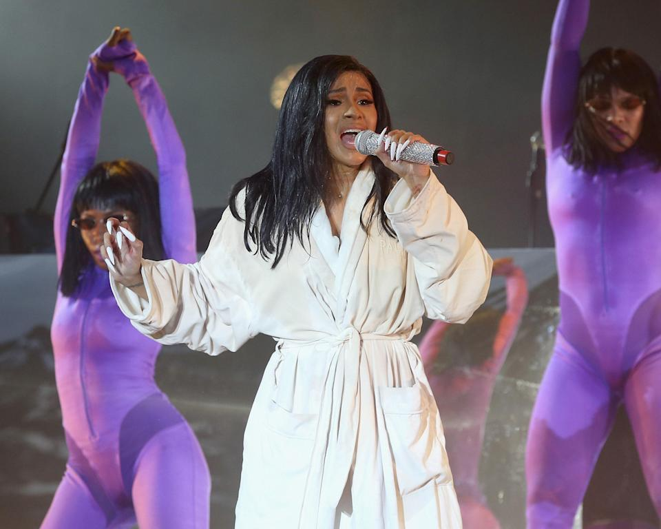 Cardi B performs during Bonnaroo in Tennessee, June 16, 2019.