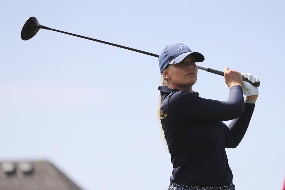 Matilda Castren hits off the second tee during the third round of the LPGA Volunteers of America Classic golf tournament in The Colony, Texas, Saturday, July 3, 2021. (AP Photo/Richard W. Rodriguez)