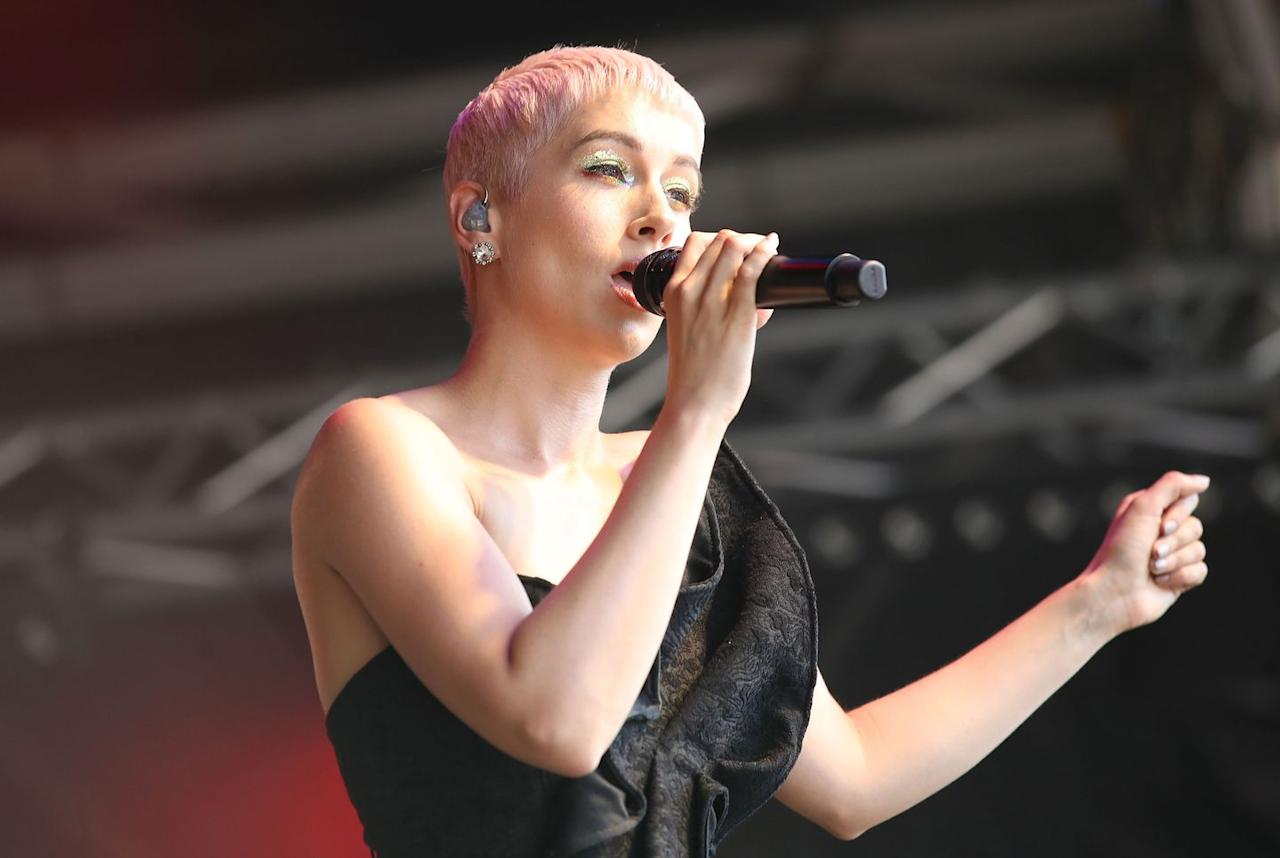 <p>SuRie performs on the Trafalgar Square Stage during Pride In London.</p>