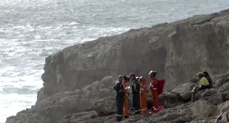 Rescuers at the scene at Cape Carnot on Sunday after the father and daughter were swept into the sea. Source: Nine News