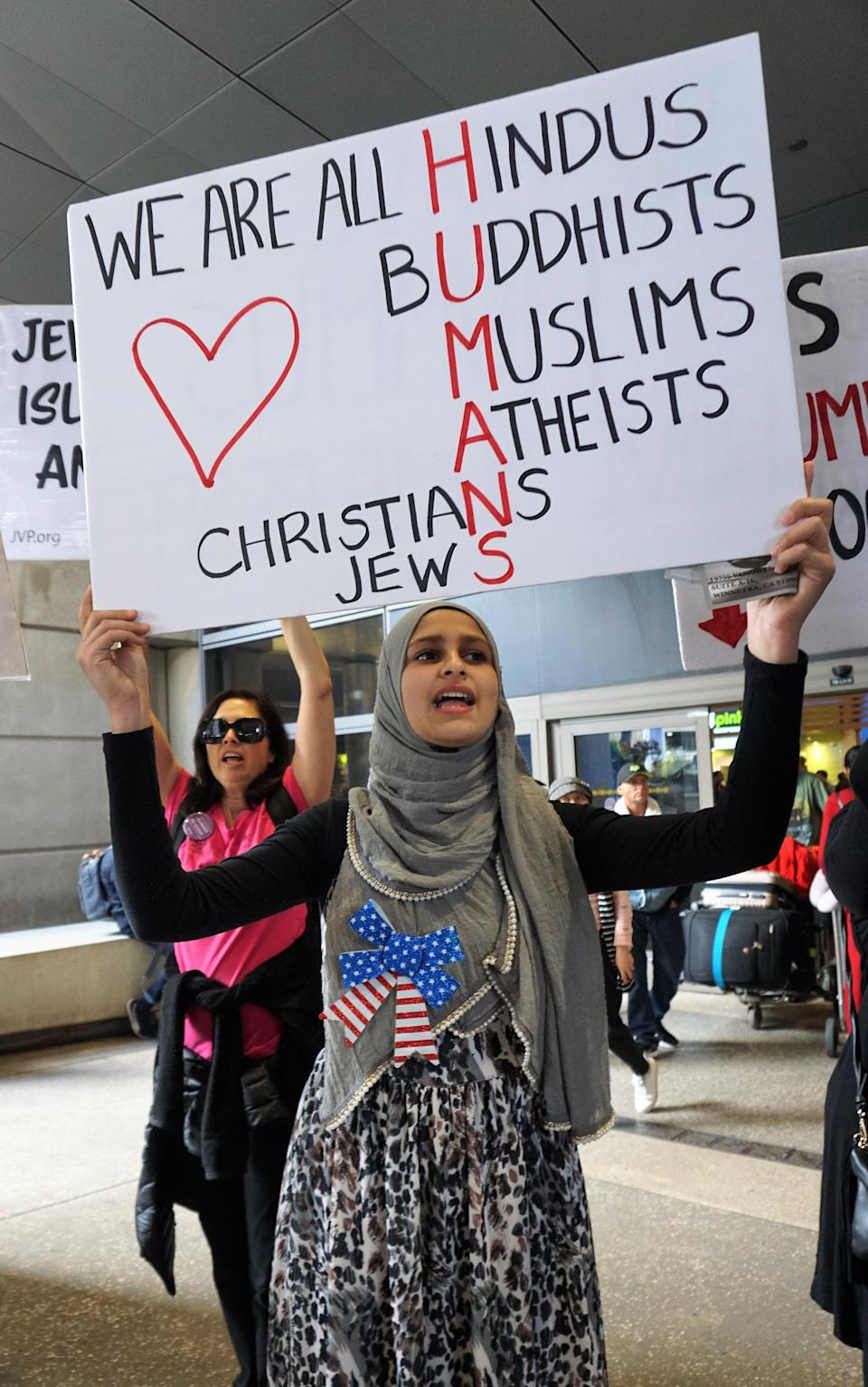 Demonstrators against President Donald Trump's Muslim Ban come together at Los Angeles International Airport, in Los Angeles, California, United States on February 4, 2017.