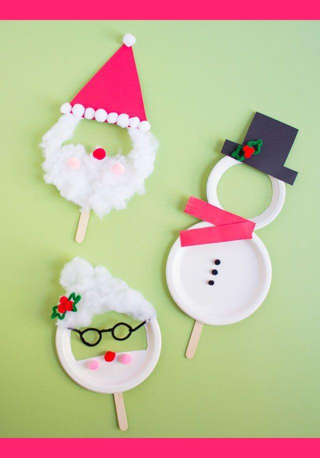 """<p>Ordinary white paper plates and a few simple craft supplies are all kids need to whip up this adorable holiday project. Don't forget to take tons of pictures of the little artists sporting their snowman, Santa Claus, and Mrs. Claus masks.</p><p><em><a href=""""https://designimprovised.com/2018/12/kids-week-paper-plate-christmas-masks.html"""" rel=""""nofollow noopener"""" target=""""_blank"""" data-ylk=""""slk:Get the tutorial at Design Improvised"""" class=""""link rapid-noclick-resp"""">Get the tutorial at Design Improvised</a></em></p>"""