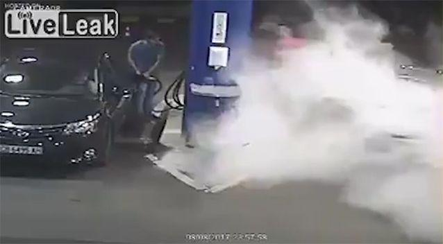 The man was covered head to toe in fire retardant. Source: LiveLeak