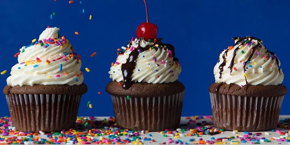 """<p>It truly doesn't get any better — or more American — than a classic chocolate sundae in cupcake form. </p><p><em><a href=""""https://www.goodhousekeeping.com/food-recipes/dessert/a46792/chocolate-sundae-cupcakes-recipe/"""" rel=""""nofollow noopener"""" target=""""_blank"""" data-ylk=""""slk:Get the recipe for Chocolate Sundae Cupcakes »"""" class=""""link rapid-noclick-resp"""">Get the recipe for Chocolate Sundae Cupcakes »</a></em></p>"""