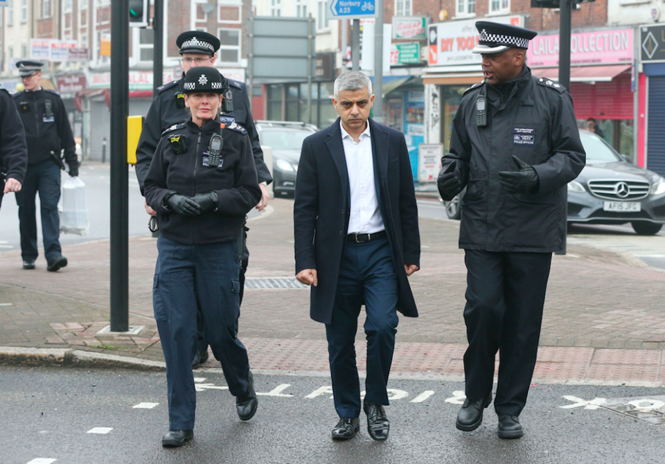 <em>London Mayor Sadiq Khan has joined police to look for weapons in London (PA)</em>