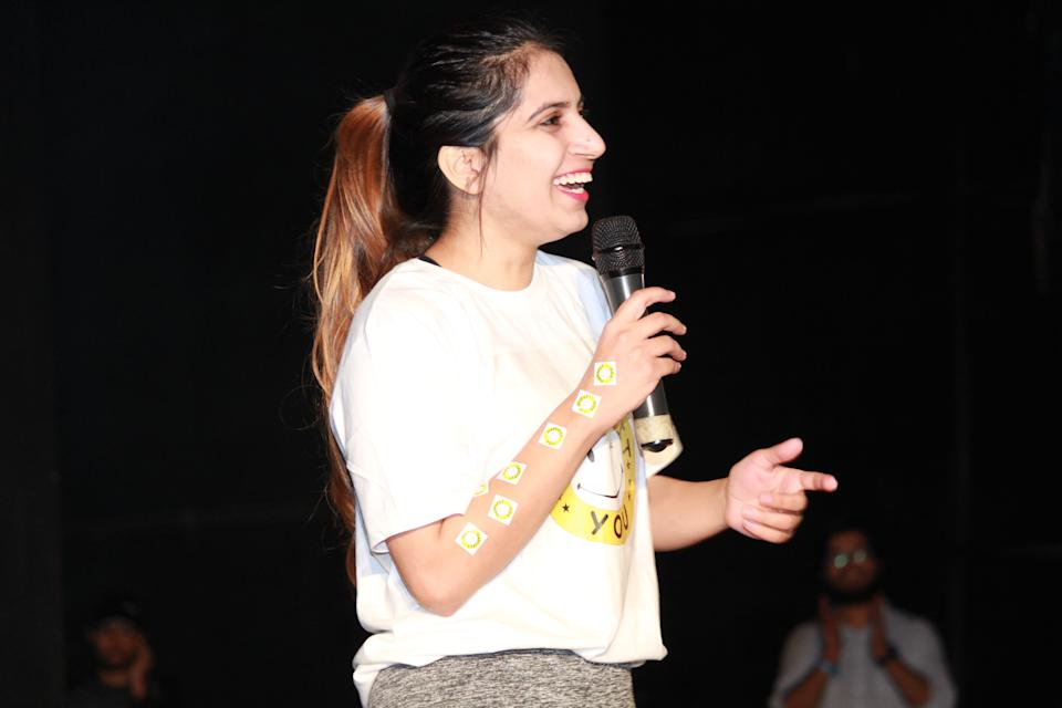 Anshula on stage for one of her workshops. (Anshula Verma)