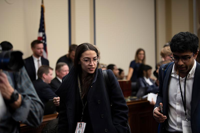 Rep.-Elect Alexandria Ocasio-Cortez, D- N.Y., departs from the congressional office lottery that assigns the order in which new members will be allowed to pick their offices.
