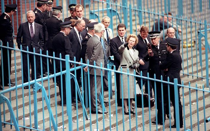 Margaret Thatcher visited the stadium after the disaster in April 1989 - PA