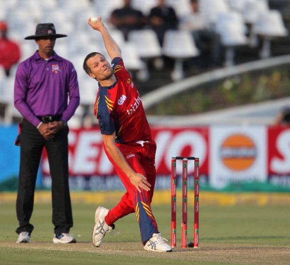 CAPE TOWN, SOUTH AFRCA - OCTOBER 16:  Dirk Nannes of the Highveld Lions bowls during the Karbonn Smart CLT20 match between Chennai Super Kings (IPL) and Highveld Lions (South Africa) at Sahara Park Newlands on October 16, 2012 in Cape Town, South Africa.  (Photo by Carl Fourie/Gallo Images/Getty Images)