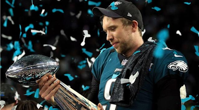 """<p>MINNEAPOLIS — Thirty Eagles bounced to the beat of a popular rap song, """"MotorSport,"""" an hour after the pulsating Super Bowl 52 victory over the dynastic Patriots. White, black, players, coaches, one equipment guy at least. When the deafening song was over, 50-year-old Doug Pederson, one of the unlikeliest Super Bowl-winning head coaches ever, found his way to the front of his men for his post-game address.</p><p>""""I can't tell you how happy I am!"""" the hoarse Pederson said, straining to be heard, his face a road map of glee. """"World champions! World champions! This is what you've accomplished—it's for this moment right here!""""</p><p>Then he said: """"An individual can make a difference, but a team makes a miracle!""""</p><p>One player yelled: """"Coach of the year!""""</p><p>If the balloting included the post-season, and counted three straight wins as underdogs, the award would be Pederson's. But he's fine with this award for his team and his football-loving city: Eagles 41, Patriots 33, in what could well be the single biggest sports victory in the history of Philadelphia.</p><p>The Eagles are NFL champions for the first time in the Super Bowl era, for the first time since three weeks before the inauguration of John F. Kennedy. And it never would have happened without the head coach whom USA Todayranked seventh of seven new NFL coaching hires in January 2016.</p><p>""""He's got a big set of stones,"""" offensive coordinator Frank Reich said, trying to find the words just before the clock struck 12 Sunday night.</p><p>That'll do.</p><p><a href=""""https://www.si.com/nfl/2018/02/05/malcolm-butler-benching-eagles-passing-scheme-super-bowl-52"""" rel=""""nofollow noopener"""" target=""""_blank"""" data-ylk=""""slk:• HOW BUTLER BENCHING GAVE EAGLES THE UPPER HAND: The absence of Butler, plus game film from October, allowed Philly to exploit the Patriots D."""" class=""""link rapid-noclick-resp""""><strong>• HOW BUTLER BENCHING GAVE EAGLES THE UPPER HAND: </strong>The absence of Butler, plus game film from October, all"""
