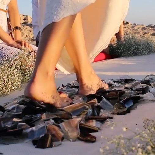 Would you walk on broken glass for your partner? Photo: Caters