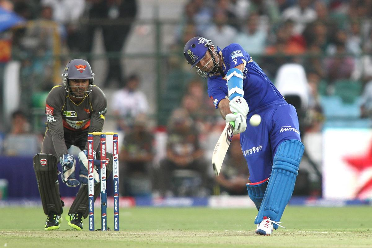 Rajasthan Royals captain Rahul Dravid hits over the top for six during match 36 of the Pepsi Indian Premier League (IPL) 2013 between The Rajasthan Royals and the Sunrisers Hyderabad held at the Sawai Mansingh Stadium in Jaipur on the 27th April 2013. (BCCI)
