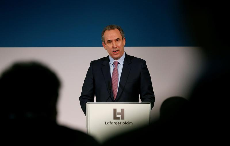 CEO Olsen of LafargeHolcim addresses a news conference in Zurich