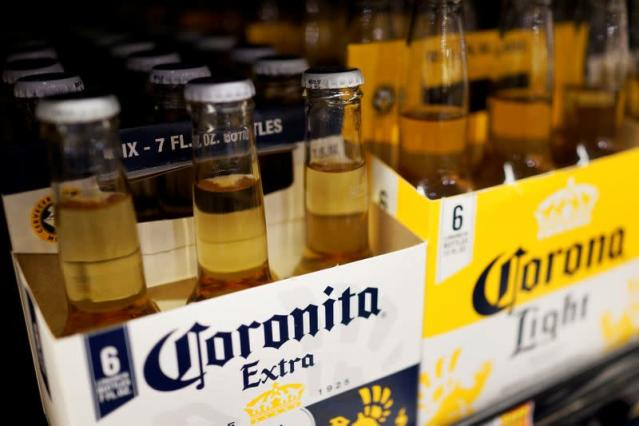 Bottles of the beer, Corona, a brand of Constellation Brands Inc., sit on a supermarket shelf in Los Angeles