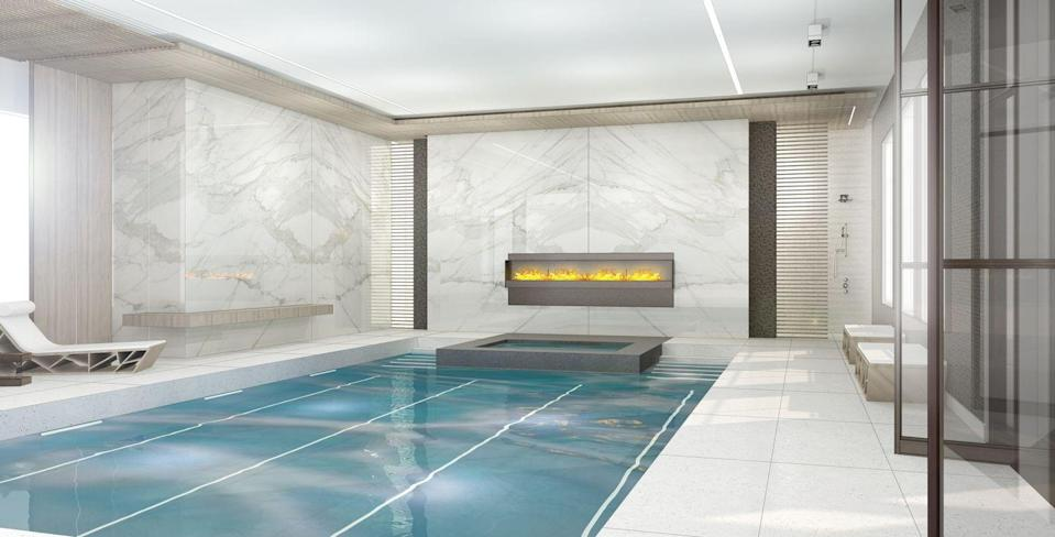 """<p>So this idea might be more aspirational than realistic, but if your budget is big enough, you can add a spa-like indoor pool! This rendering shows an ultra-luxe pool room designed by <a href=""""https://www.mojostumer.com/"""" rel=""""nofollow noopener"""" target=""""_blank"""" data-ylk=""""slk:Mojo Stumer"""" class=""""link rapid-noclick-resp"""">Mojo Stumer</a>. Just out of view: a massage room, a steam shower, and a free-floating tub. Talk about a dream basement!</p>"""