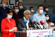 Co-leaders of the pro-Kurdish Peoples' Democratic Party (HDP) Pervin Buldan and Mithat Sancar attend a news conference in Ankara