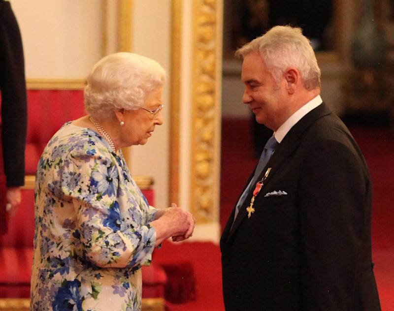 Eamonn Holmes is made an OBE (Officer of the Order of the British Empire) for services to broadcasting by Queen Elizabeth II during an Investiture ceremony at Buckingham Palace in central London.