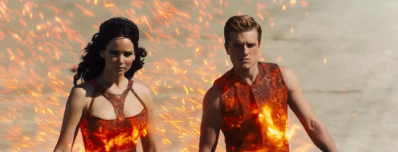 Jennifer Lawrence and Josh Hutcherson in 'The Hunger Games: Catching Fire'